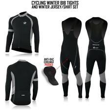 Men's Cycling Jersey Long Sleeves + Bib Tights Set Biking Top+Bottom Tights