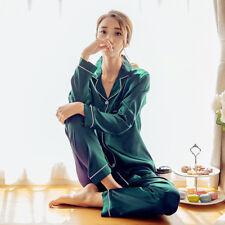 New Womens Silk Pajamas Set Soft Satin Homewear Loungewear Sleepwear Nightgown
