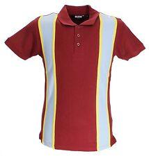 Relco gestreift Vintage Style Mod Polohemden Burgund/Sky