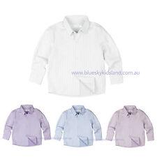 NWT Boys Long Sleeve Shirt Cotton Size 000-16 White-Blue-Pink-Purple (Stripes)