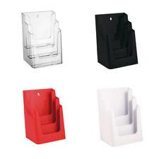 3-Etagen-Prospektständer, Prospekthalter, DIN A4, Flyer, Theke, Wandmontage