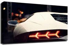 Blanco Lamborghini Aventador Coche Deportivo Fotografía Premium Lienzo Enmarcado