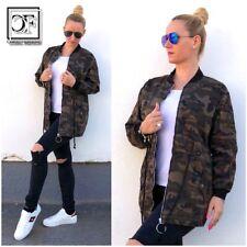 Coole Damen CAMOUFLAGE Military Army Denim Jeans Look Jacke mit Zippverschluss