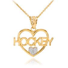 Two-Tone Gold I Love Hockey Open Heart 1 Diamond Necklace