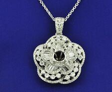 flower pendant Semi mount 2.20 ct 18k Solid White gold Natural Diamond Lotus