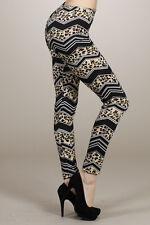 CHEVRON ANIMAL print leopard leggings pants POLYESTER RAYON S M L XL