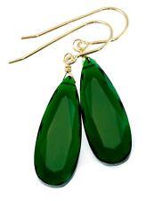 Emerald Green Earrings Sim Emerald Long Facet Teardrops Sterling 14k solid gold