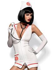 Urgencias Vestido con Estetoscopio, Blanco/Rojo, Obsessive