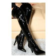 Stretch Overknee Boots Pumps Women's Shoes Zipper Patent Leather 10cm Stilettos