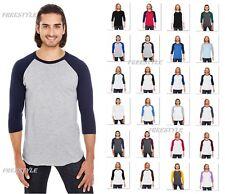 BB453 USA American Apparel Unisex Poly-Cotton 3/4-Sleeve Raglan Tee T-Shirt
