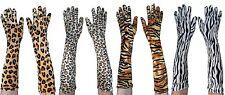 Animal Print Long Gloves Tiger Leopard Jaguar Zebra Costume Accessory