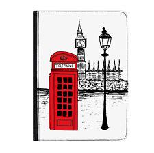 """Caja De Teléfono Rojo London llamando Universal 9-10.1"""" Funda para Estuche Abatible de Cuero"""