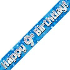 Azul Happy 9 cumpleaños METALIZADO Letrero De Fiesta Decoración Estrellas