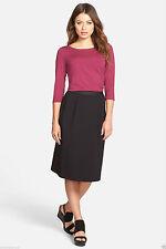 NWT Eileen Fisher Classic Black Knee Length A-Line Italian Knit Skirt F51P-S1534