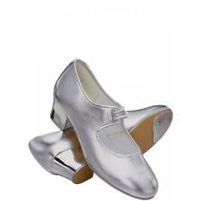 Ladies/ Girls/ Teenage Shiny Silver PU dance cuban heel TAP SHOES. Size 3