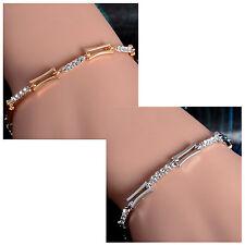 Women's Elegant Gold Silver Clear Australian Rhinestone Bracelet Jewellery Gift