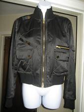 FAY Italy Black Shine Bomber Jacket Sz M