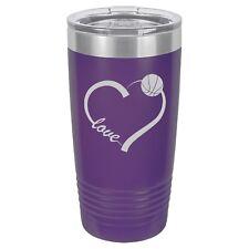 Tumbler 20oz 30oz Travel Mug Cup Stainless Steel Love Heart Basketball