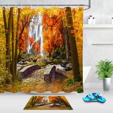 Autumn Forest Waterfall Golden Fall Leaves Landscape Shower Curtain Set Bath Mat