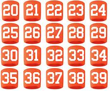#20-39 Number Sweatband Wristband Football Baseball Basketball Orange White