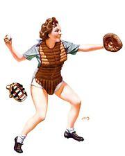 French Pinups: Snappy - Brunette Baseball Catcher Girl - Bergey - 1936
