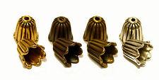 Perlkappen Perlenkappe Endkappen Endkappe Tulpe Metall in 4 Farben 10x10 mm 4x
