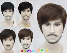 Fashion Men wig Short Menfolk Male Natural Hair cosplay Wig Brown Black
