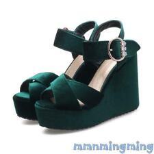 Women shoes Velvet High Platform Wedge heel Ankle Strap slingbacks shoes