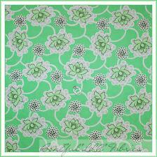 BonEful Fabric FQ Cotton Quilt Green White VTG Amy Butler Flower Dot Daisy Retro