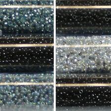 Miyuki Rocailles 15/0 rund 1,5 mm schwarz, grau, dunkelgrau 5g = 1 Röhrchen