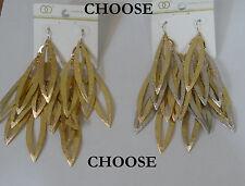 link cluster leaf shape hook Earrings Fashion Leader golden or mix silver chain