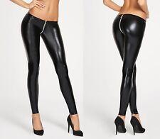 Hose mit Zips in Lackoptik Gr Wetlook Leggings Reißverschluß S-XL