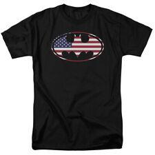 Batman American Flag Bat Shield Logo Licensed Tee Shirt Adult Sizes S-3XL