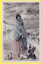 cpa FANTAISIE NOEL JOUET Postcard MOTHER CHRISTMAS Doll TOYS SANTA CLAUS