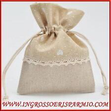 Sacchetti portaconfetti juta beige confettate nozze comunione fai da te 13x10cm