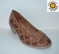 Zapato tacón salón Piel color azul o marrón tallas 36,38,40 y 41