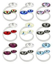 Sterling Silver Adjustable Rivoli Ring made with 1122 Swarovski® Crystals