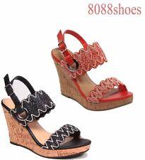 Women's Summer Fashion Slingback Buckle Cork Wedge Sandal Shoes All Size 5 - 10