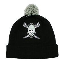 NFL Oakland Raiders Mitchell and Ness Pom Cuffed Winter Knit Hat Beanie Cap M&N