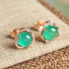 Round Chalcedony Stud Flower Green Stud Earrings Jewelry JJ