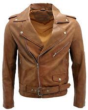 Men's Tan Retro Brando Casual Biker Jacket 100% Nappa Leather