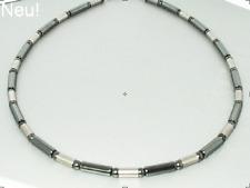 Neue Titan Titanium Kette Halskette Collier Silber Herren Damen grau Hämatit III