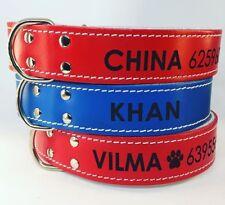 Collar Piel doble capa personalizados con nombre y teléfono para perros, mascota