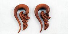 Organic Earrings Handmade Carved Sono Wood Tribal Floral Hook Ear Plugs Gauges
