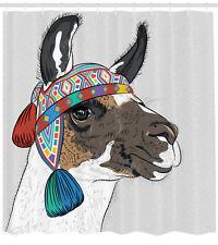 Llama Shower Curtain Abstract Ethnic Pattern Print for Bathroom
