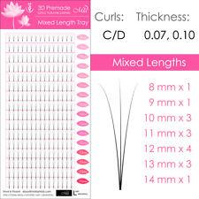 Mixed Length Lotus Premade 3D Fan Lash Eyelash Extension Pre-fans Semi Permanent
