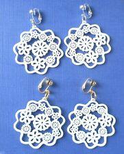 WHITE FILIGREE FLOWERS HOOPS CLIP ON EARRINGS (hook options)
