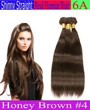 "Honey Brown #4 STRAIGHT 100% Human Hair Weave Extension Ali Bundles (6"" - 26"")"