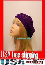 purple Women Lady girl thin Fashion Beret Beanie CROCHET French Artist CAP HAT