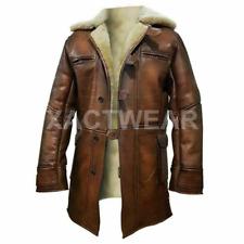 Men Tom Hardy Brown Real Leather Fur Coat Jacket Bane Dark Knight Rises coat
